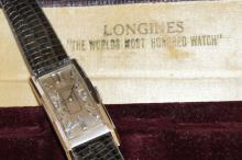 Vintage Man's Platinum Longine Watch With Diamonds