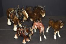 Five Porcelain Horses