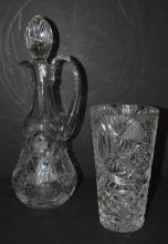 Cut glass decanter and vase