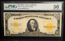 1922 $10 Gold Certificate Large Note PMG AU 50