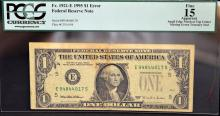 1995 $1 Error FRN Richmond, VA PCGS Fine 15