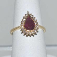 14kt yellow gold ruby and diamond ring #1538