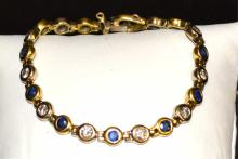 18kyg Diamond & Blue Sapphire Bracelet