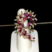 18kwg Ruby & Diamond Cocktail Ring 3.64ctw