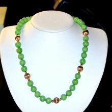 Apple Green Jade Necklace & Earrings