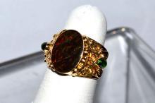 18kyg Sajen Designed Opal & Emerald Ring