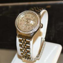 Lady's Stainless Rolex Datejust With Diamonds