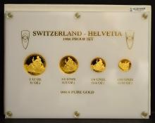 1986 Switzerland-Helvetia 4-Coin Gold Unze PF Set