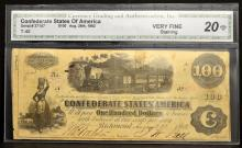1862 $100 T-40 CSA Richmond, VA CGA VF 20