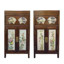 Antique Chinese Wood + Porcelain Inset Cabinet