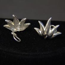 Vintage Tiffany & Co Sterling Leaf Clipon Earrings