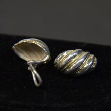 Vintage Tiffany & Co Sterling With 18KT Yellow Gold Accent Swirl Earrings