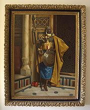 Large Orientalist oil painting on canvas depicting a Nubian Palace Guard