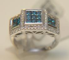 14 Kt. WG Blue & White DIA Ring
