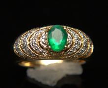 14 Kt. YG, Emerald and Diamond ring.