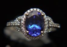 14 Kt. WG, Tanzanite & Diamond Ring