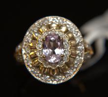 14 Kt YG Kunzite & Diamond Ring