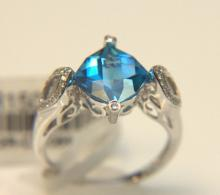 14 Kt. WG, Swiss Blue Topaz & Diamond Ring