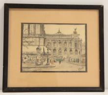 A. BRUNET HAND COLORED LITHOGRAPH SIGNED
