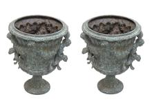 Pair Bronze Green Patina Figural Urns