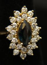 14 Kt. YG & 1.75 Ct. DIA and 1.75 Ct. Sapphire Ring