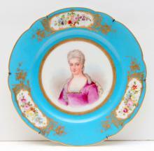 Sevres Antique Blue Porcelain Portrait Plate