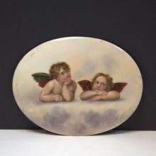 Hand Painted Porcelain Oval Plaque