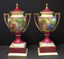 Pair Royal Vienna Hand Painted Covered Urns