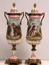 Pair of Antique Bronze and Porcelain Sevres Covered