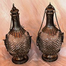 Pair of Antique French Silver and Crystal Figural Decanters