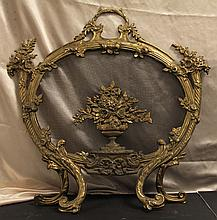 Antique French Bronze Fire Screen