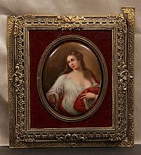 Oil Painting on Porcelain Plaque in Bronze Frame