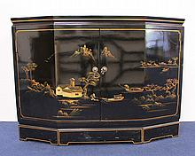 Chinese Black Lacquer Two Door Cabinet