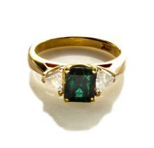 contemporary 3 stone diamond and emerald ring
