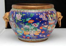 CHINESE CLOISONNE BRONZE MOUNTED PLANTER