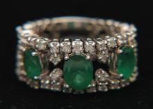 14K WG 1.0 2 CT Dia + 3.5 ct Emerald Ring