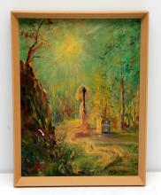 MARY LEE LATHROP OIL PAINTING ON CANVAS 1946