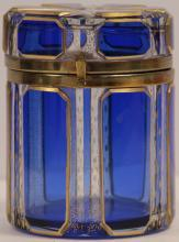 BOHEMIAN CUT GLASS COBALT BLUE BOX