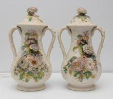 PAIR OF DRESDEN STYLE COVERED URNS