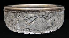 AMERICAN CUT CRYSTAL AND STERLING BOWL