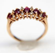 14KT YG RUBY AND DIAMOND RING