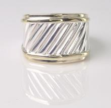 David Yurman Sterling Silver & 14K Yellow Gold Cable Ring Collection