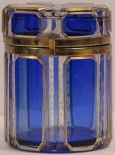BOHEMIAN CUT GLASS CCOBALT BLUE BOX