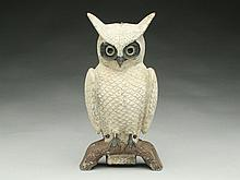 Cast metal owl, Swisher & Soules, Decatur, Illinois.