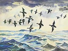 Watercolor of migrating ducks over ocean by Frank Benson.