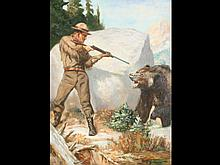 Oil on board of hunter and bear by N. Grossman.