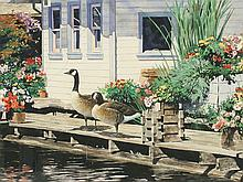 Watercolor of Canadian geese, F.W. Thomas.