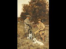 Oil on canvas of two hunters with dogs by J.M. Tracey.