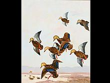 Oil on canvas of flying black ducks coming in to hunter and decoys, Lynn Bogue Hunt.