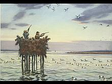 Watercolor of duck and goose hunters in typical Chesapeake Bay offshore blind, A. Lassell Ripley.